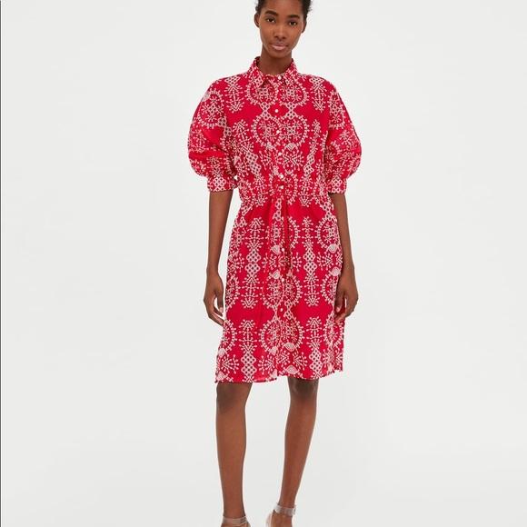 2106d2636 Zara Dresses   Nwt Red White Embroidered Eyelet Dress   Poshmark
